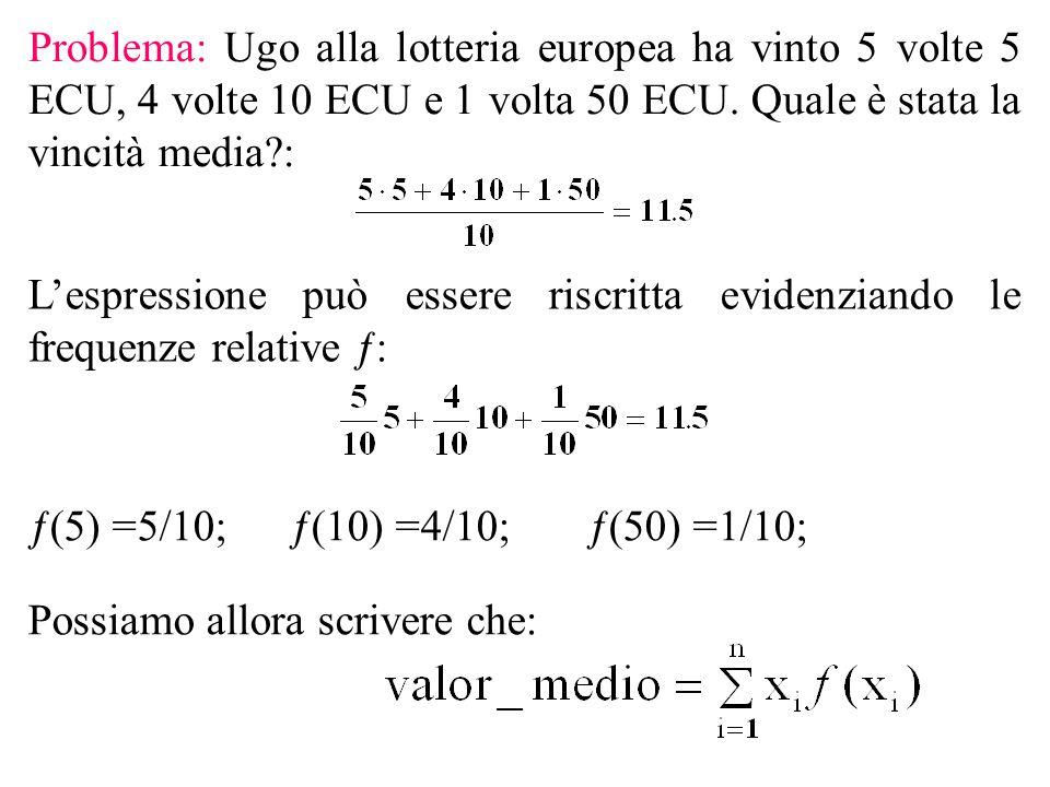 Problema: Ugo alla lotteria europea ha vinto 5 volte 5 ECU, 4 volte 10 ECU e 1 volta 50 ECU.