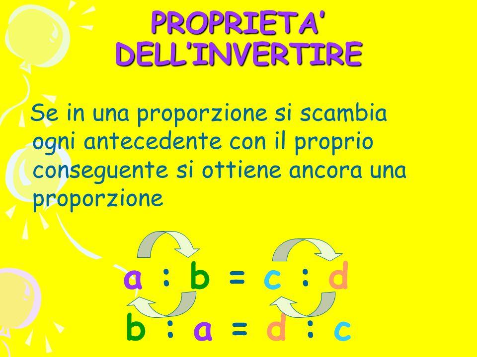PROPRIETA' DELL'INVERTIRE Se in una proporzione si scambia ogni antecedente con il proprio conseguente si ottiene ancora una proporzione a : b = c : d b : a = d : c