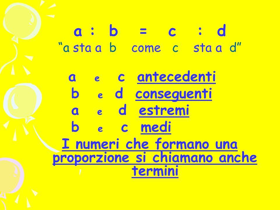a : b = c : d a sta a b come c sta a d a e c antecedenti b e d conseguenti a e d estremi b e c medi I numeri che formano una proporzione si chiamano anche termini