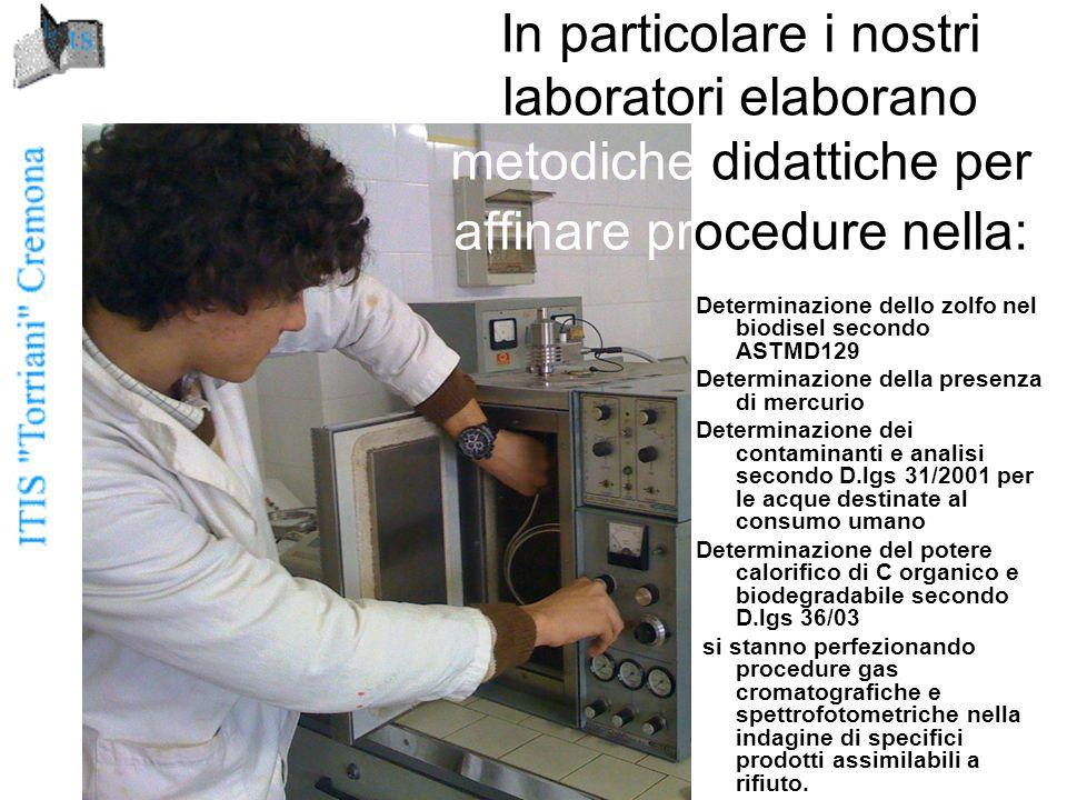 Determinazione dello zolfo nel biodisel secondo ASTMD129 Determinazione della presenza di mercurio Determinazione dei contaminanti e analisi secondo D.lgs 31/2001 per le acque destinate al consumo umano Determinazione del potere calorifico di C organico e biodegradabile secondo D.lgs 36/03 si stanno perfezionando procedure gas cromatografiche e spettrofotometriche nella indagine di specifici prodotti assimilabili a rifiuto.