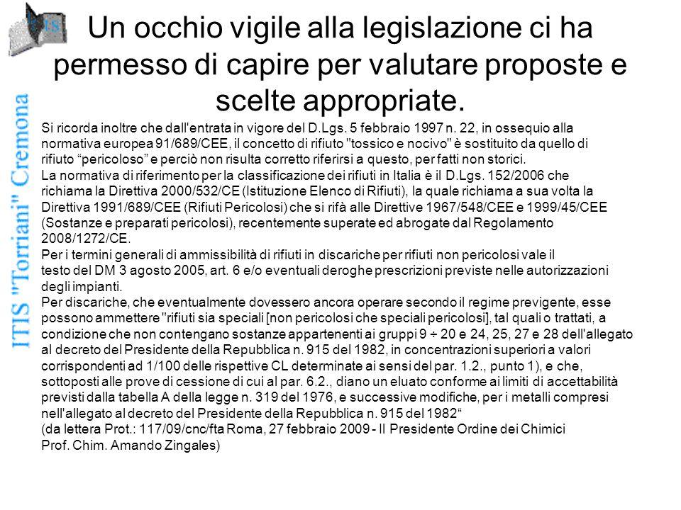 Un occhio vigile alla legislazione ci ha permesso di capire per valutare proposte e scelte appropriate.