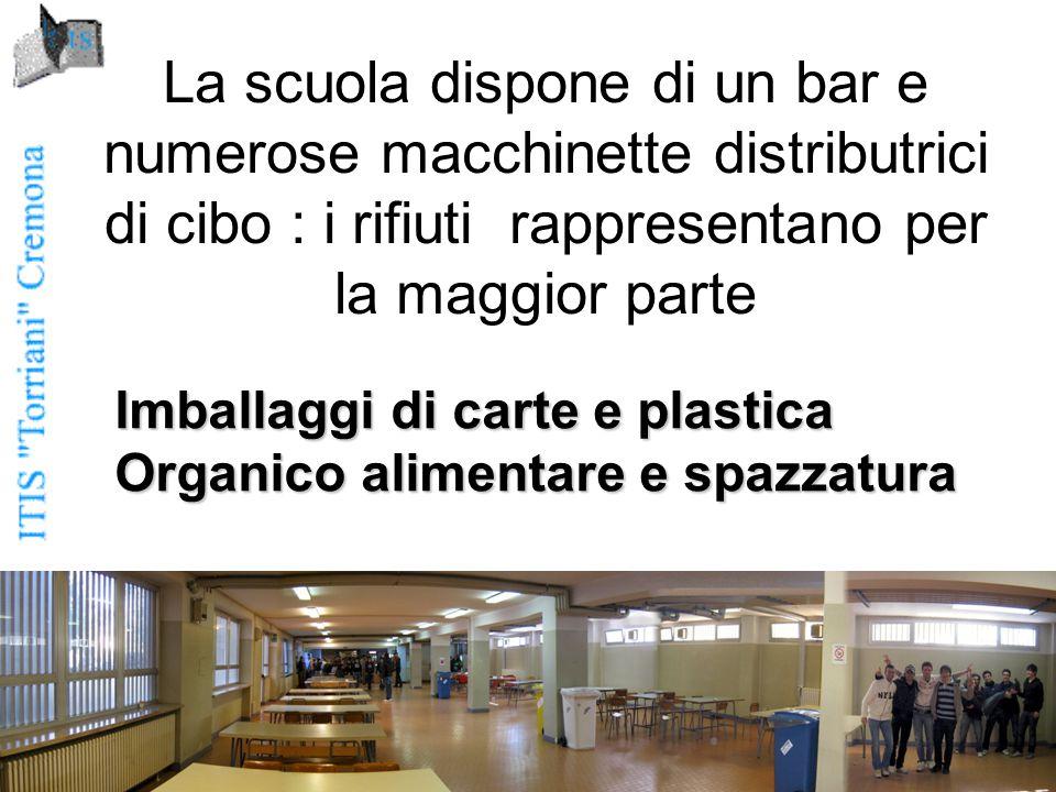 La scuola dispone di un bar e numerose macchinette distributrici di cibo : i rifiuti rappresentano per la maggior parte Imballaggi di carte e plastica Organico alimentare e spazzatura