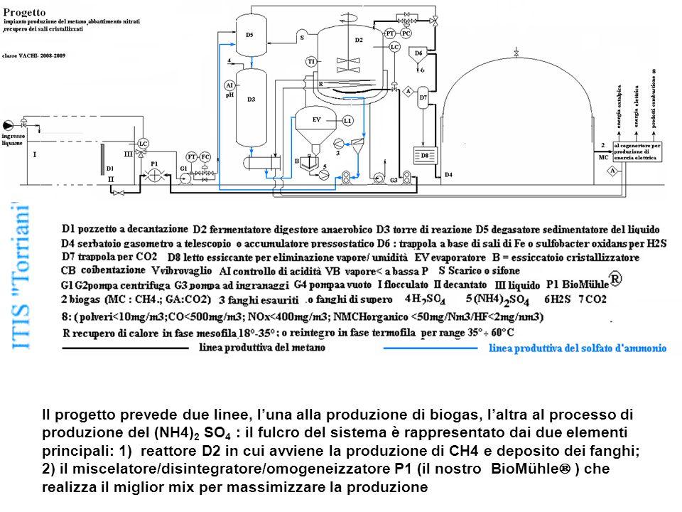 Il progetto prevede due linee, l'una alla produzione di biogas, l'altra al processo di produzione del (NH4) 2 SO 4 : il fulcro del sistema è rappresentato dai due elementi principali: 1) reattore D2 in cui avviene la produzione di CH4 e deposito dei fanghi; 2) il miscelatore/disintegratore/omogeneizzatore P1 (il nostro BioMühle ® ) che realizza il miglior mix per massimizzare la produzione