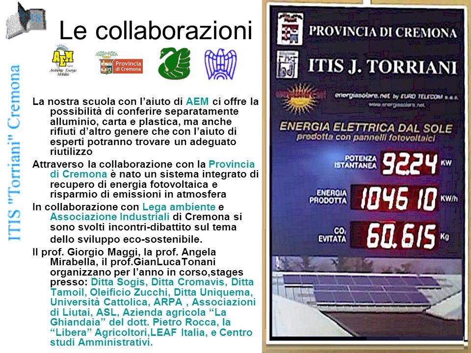 Le collaborazioni La nostra scuola con l'aiuto di AEM ci offre la possibilità di conferire separatamente alluminio, carta e plastica, ma anche rifiuti d'altro genere che con l'aiuto di esperti potranno trovare un adeguato riutilizzo Attraverso la collaborazione con la Provincia di Cremona è nato un sistema integrato di recupero di energia fotovoltaica e risparmio di emissioni in atmosfera In collaborazione con Lega ambiente e Associazione Industriali di Cremona si sono svolti incontri-dibattito sul tema dello sviluppo eco-sostenibile.