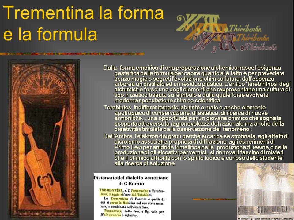 Trementina la forma e la formula Dalla forma empirica di una preparazione alchemica nasce l'esigenza gestaltica della formula per capire quanto si è f
