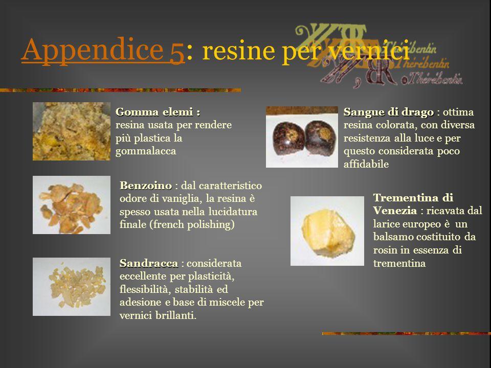 Appendice 5Appendice 5: resine per vernici Gomma elemi : Gomma elemi : resina usata per rendere più plastica la gommalacca Benzoino Benzoino : dal car