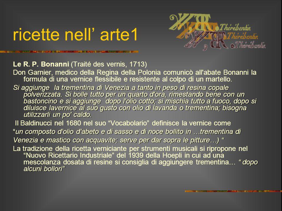 ricette nell' arte1 Le R. P. Bonanni (Traité des vernis, 1713) Don Garnier, medico della Regina della Polonia comunicò all'abate Bonanni la formula di