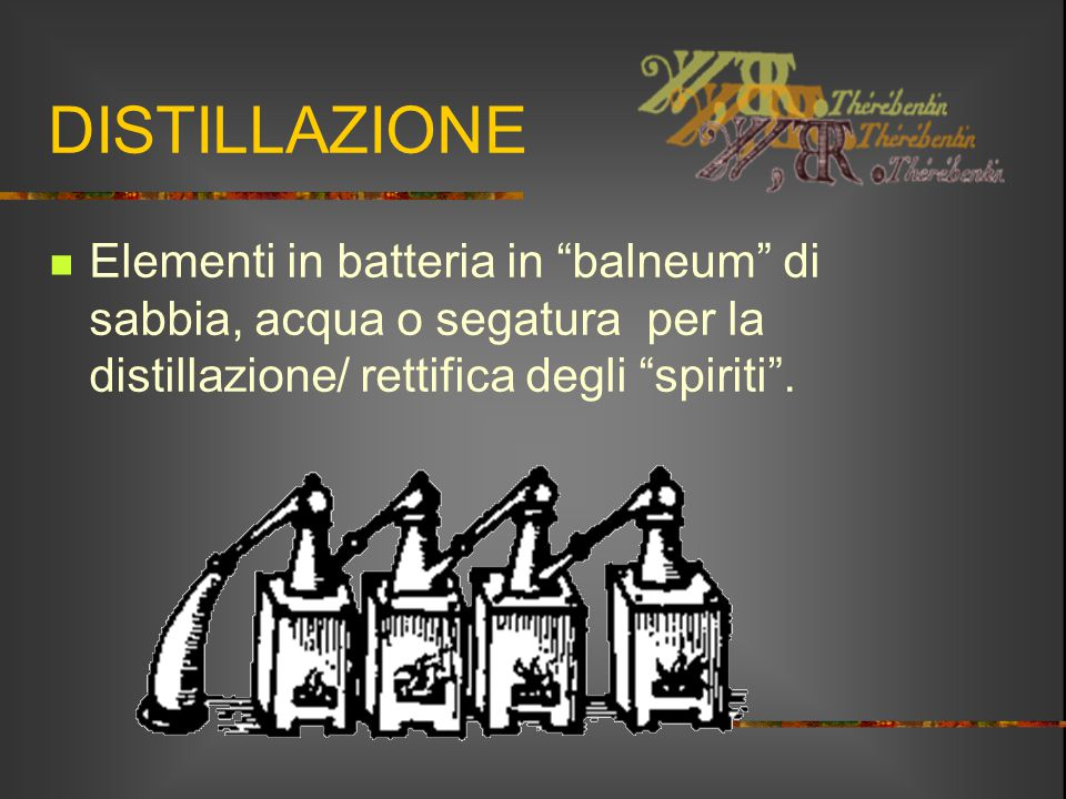 """DISTILLAZIONE Elementi in batteria in """"balneum"""" di sabbia, acqua o segatura per la distillazione/ rettifica degli """"spiriti""""."""