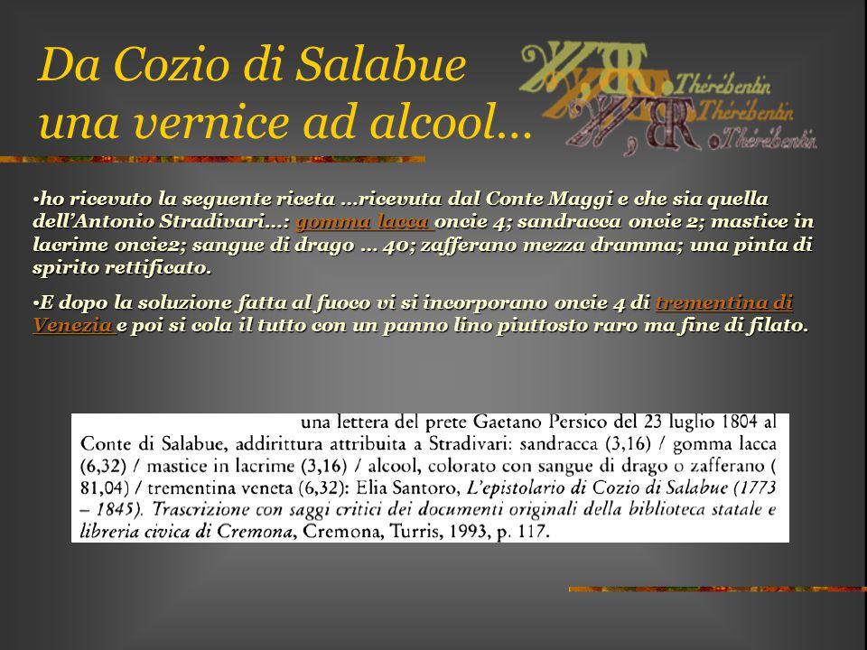 Da Cozio di Salabue una vernice ad alcool… ho ricevuto la seguente riceta …ricevuta dal Conte Maggi e che sia quella dell'Antonio Stradivari…: gomma l