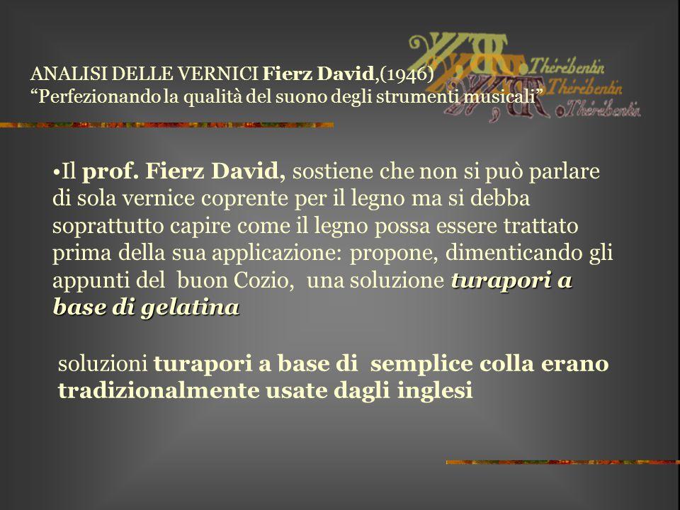 """ANALISI DELLE VERNICI Fierz David,(1946) """"Perfezionando la qualità del suono degli strumenti musicali"""" turapori a base di gelatinaIl prof. Fierz David"""