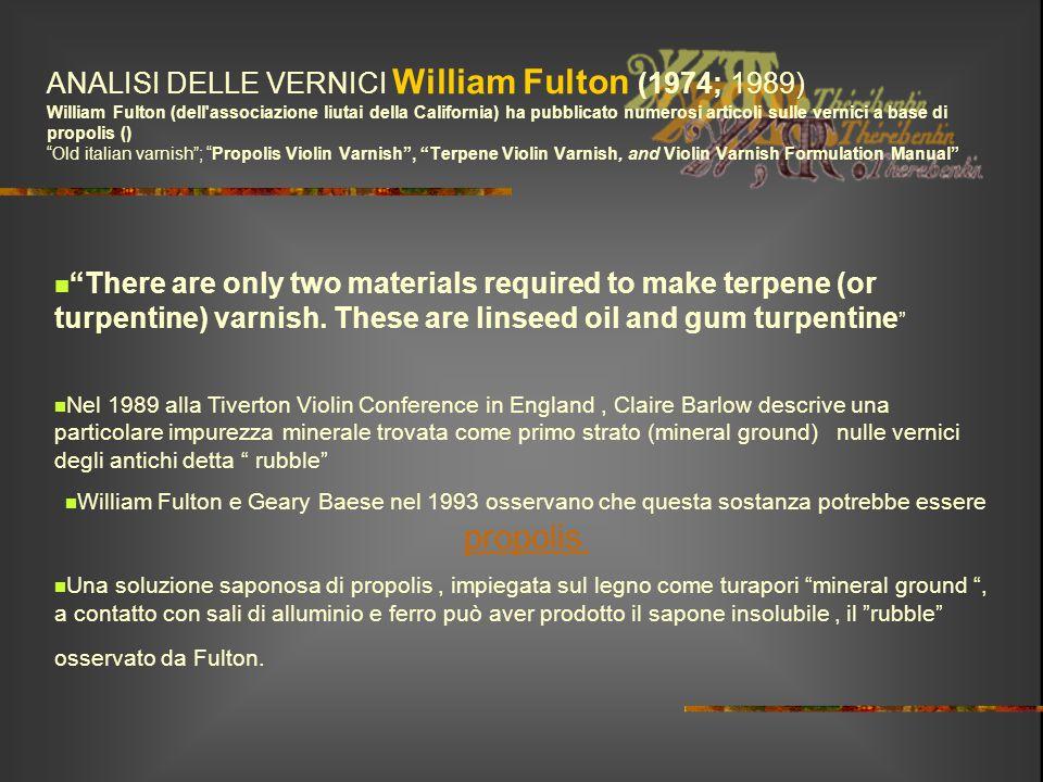 ANALISI DELLE VERNICI William Fulton (1974; 1989) William Fulton (dell'associazione liutai della California) ha pubblicato numerosi articoli sulle ver