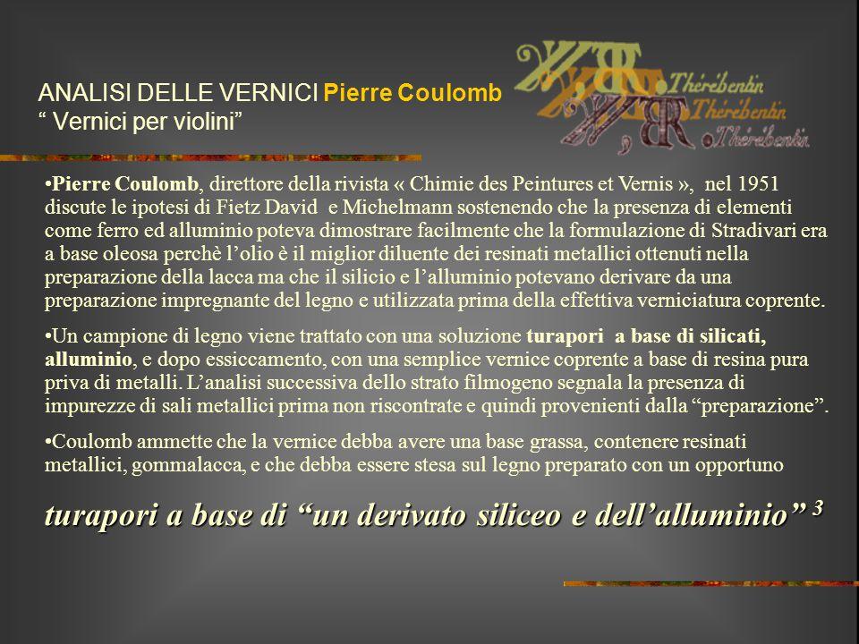 """ANALISI DELLE VERNICI Pierre Coulomb """" Vernici per violini"""" Pierre Coulomb, direttore della rivista « Chimie des Peintures et Vernis », nel 1951 discu"""