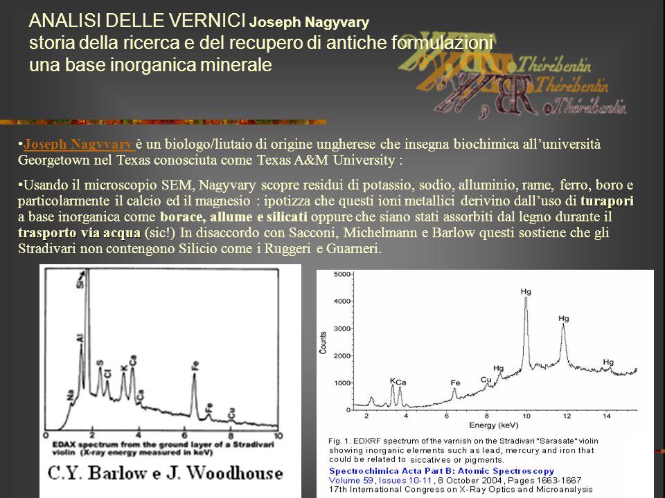 ANALISI DELLE VERNICI Joseph Nagyvary storia della ricerca e del recupero di antiche formulazioni una base inorganica minerale Joseph Nagyvary è un bi