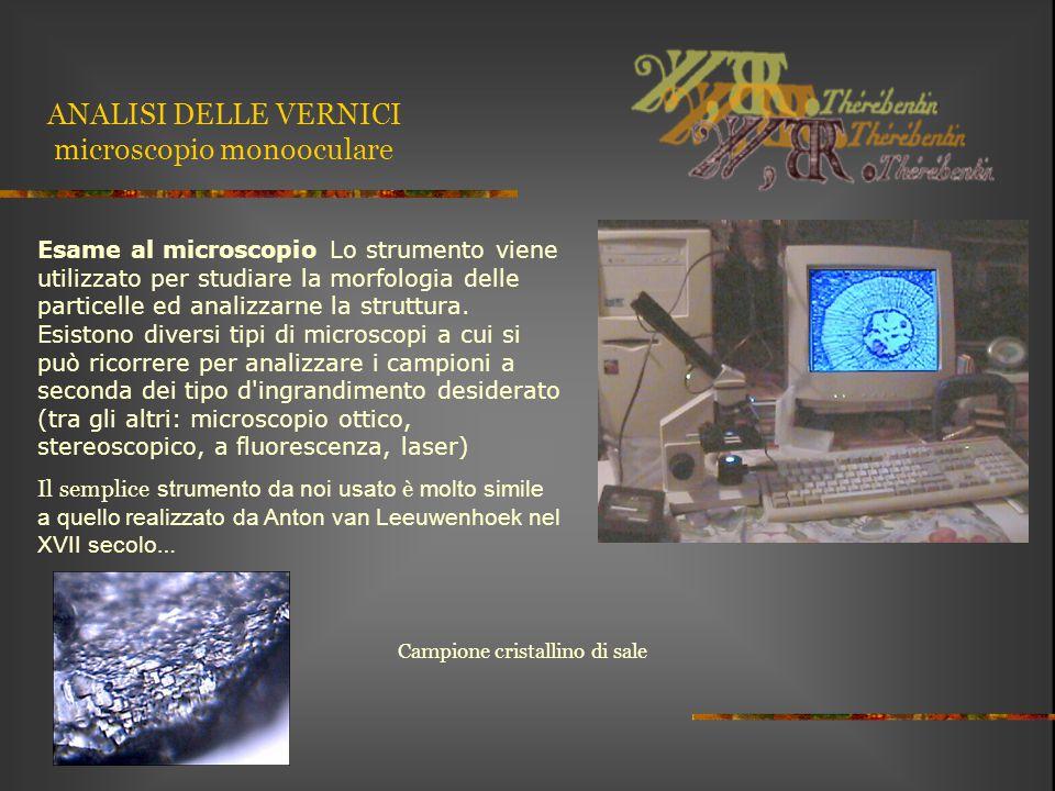 ANALISI DELLE VERNICI microscopio monooculare Esame al microscopio Lo strumento viene utilizzato per studiare la morfologia delle particelle ed analiz