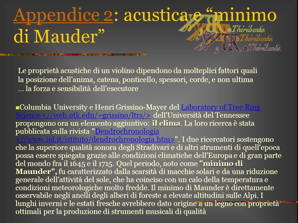 """Appendice 2Appendice 2: acustica e """"minimo di Mauder"""" il clima"""