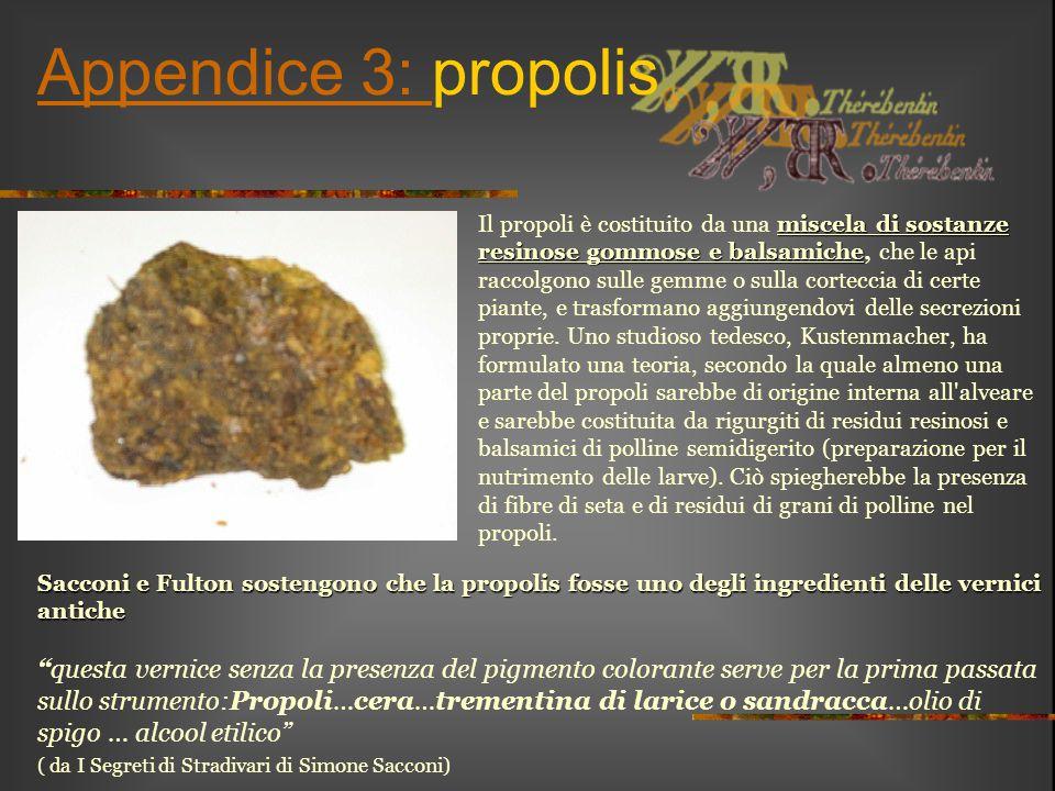 """Appendice 3: Appendice 3: propolis Sacconi e Fulton sostengono che la propolis fosse uno degli ingredienti delle vernici antiche """"questa vernice senza"""