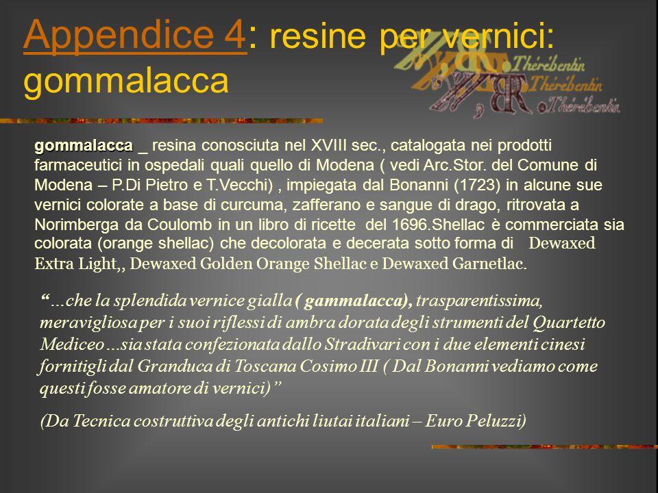 Appendice 4Appendice 4: resine per vernici: gommalacca gommalacca gommalacca _ resina conosciuta nel XVIII sec., catalogata nei prodotti farmaceutici