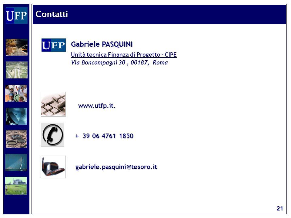 21 Gabriele PASQUINI Unità tecnica Finanza di Progetto – CIPE Via Boncompagni 30, 00187, Roma + 39 06 4761 1850 gabriele.pasquini@tesoro.it www.utfp.it.