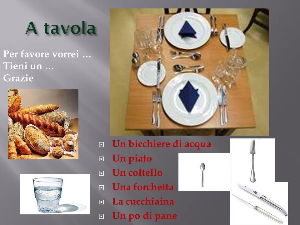  Un bicchiere di acqua  Un piato  Un coltello  Una forchetta  La cucchiaina  Un po di pane Per favore vorrei … Tieni un … Grazie