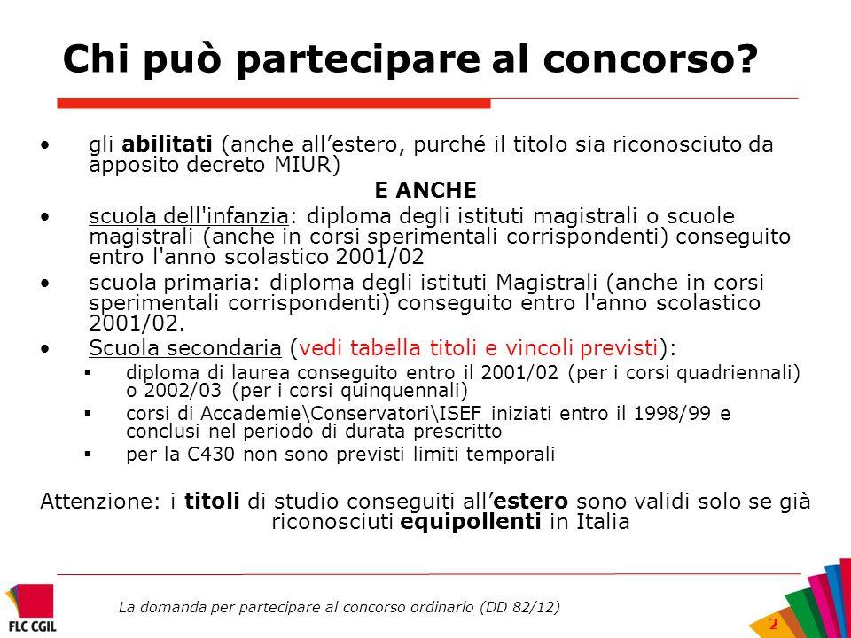 La domanda per partecipare al concorso ordinario (DD 82/12) 2 Chi può partecipare al concorso? gli abilitati (anche all'estero, purché il titolo sia r