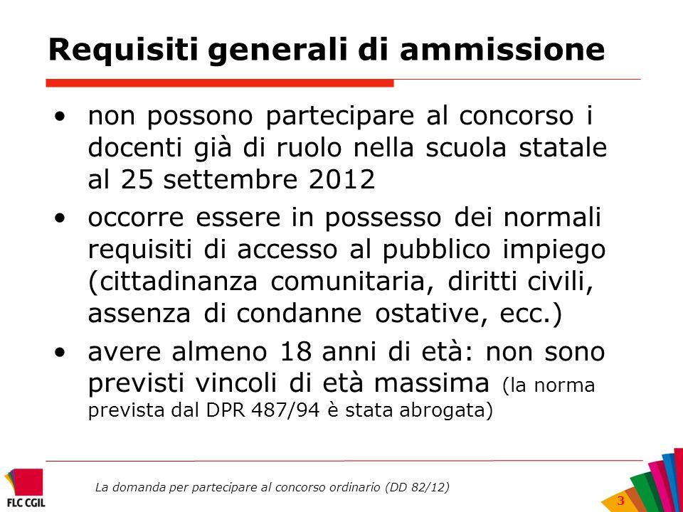 La domanda per partecipare al concorso ordinario (DD 82/12) 3 Requisiti generali di ammissione non possono partecipare al concorso i docenti già di ru