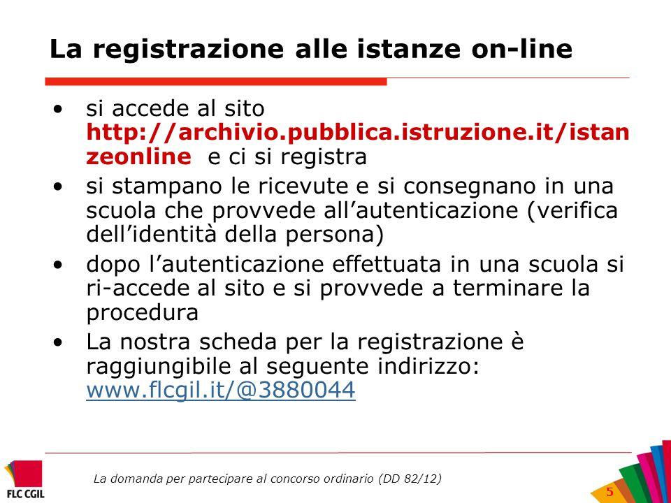 La domanda per partecipare al concorso ordinario (DD 82/12) 5 La registrazione alle istanze on-line si accede al sito http://archivio.pubblica.istruzi