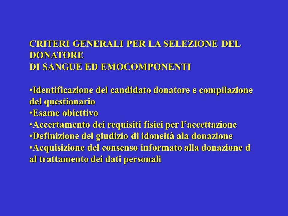 CRITERI GENERALI PER LA SELEZIONE DEL DONATORE DI SANGUE ED EMOCOMPONENTI Identificazione del candidato donatore e compilazione del questionarioIdenti