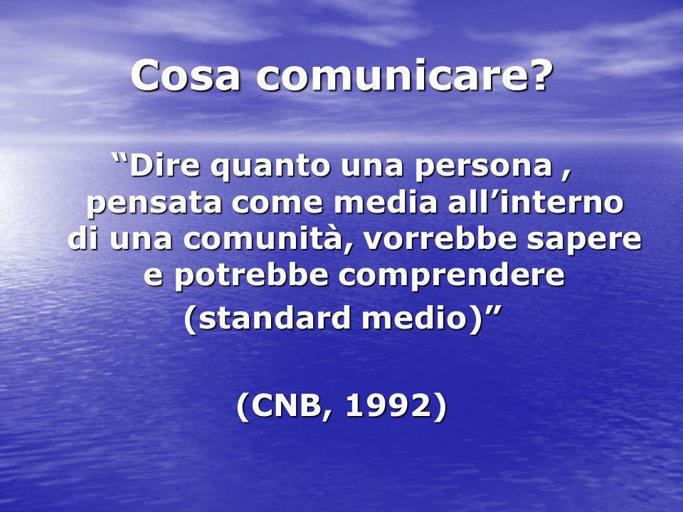"""Cosa comunicare? """"Dire quanto una persona, pensata come media all'interno di una comunità, vorrebbe sapere e potrebbe comprendere (standard medio)"""" (C"""
