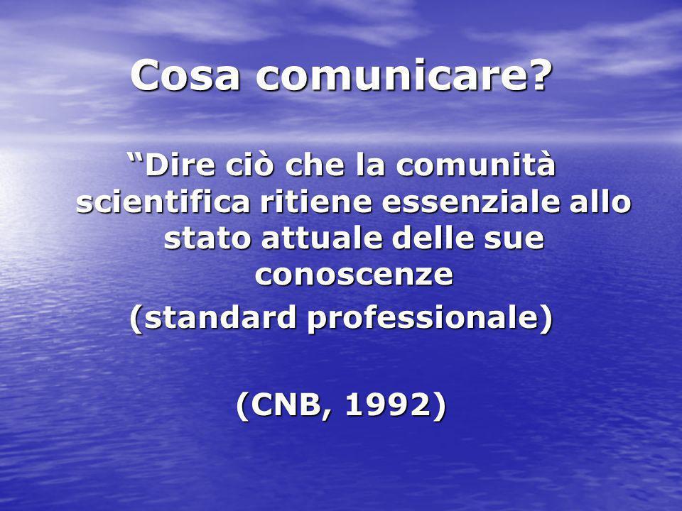 """Cosa comunicare? """"Dire ciò che la comunità scientifica ritiene essenziale allo stato attuale delle sue conoscenze (standard professionale) (CNB, 1992)"""