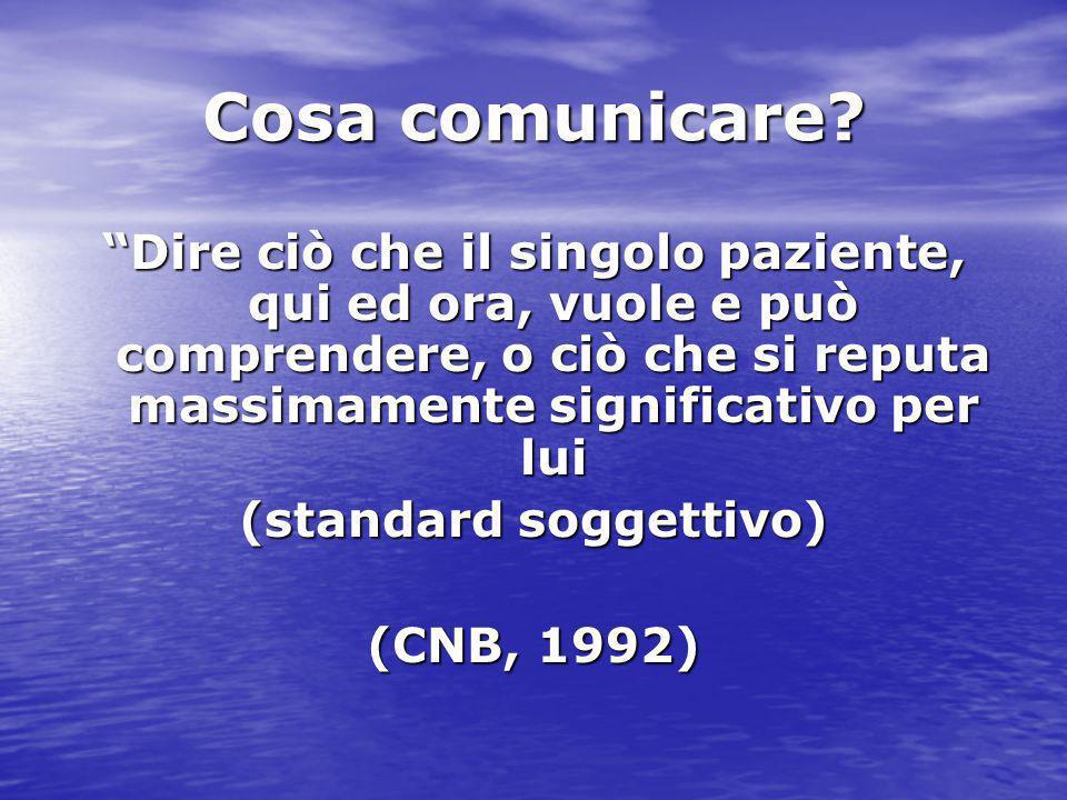 """Cosa comunicare? """"Dire ciò che il singolo paziente, qui ed ora, vuole e può comprendere, o ciò che si reputa massimamente significativo per lui (stand"""