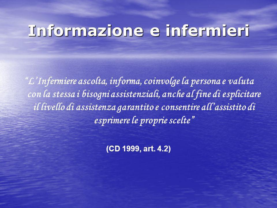 """Informazione e infermieri """"L'Infermiere ascolta, informa, coinvolge la persona e valuta con la stessa i bisogni assistenziali, anche al fine di esplic"""