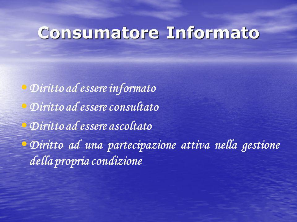 Consumatore Informato Diritto ad essere informato Diritto ad essere consultato Diritto ad essere ascoltato Diritto ad una partecipazione attiva nella