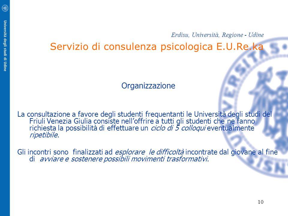 10 Erdisu, Università, Regione - Udine Servizio di consulenza psicologica E.U.Re.ka Organizzazione La consultazione a favore degli studenti frequentan