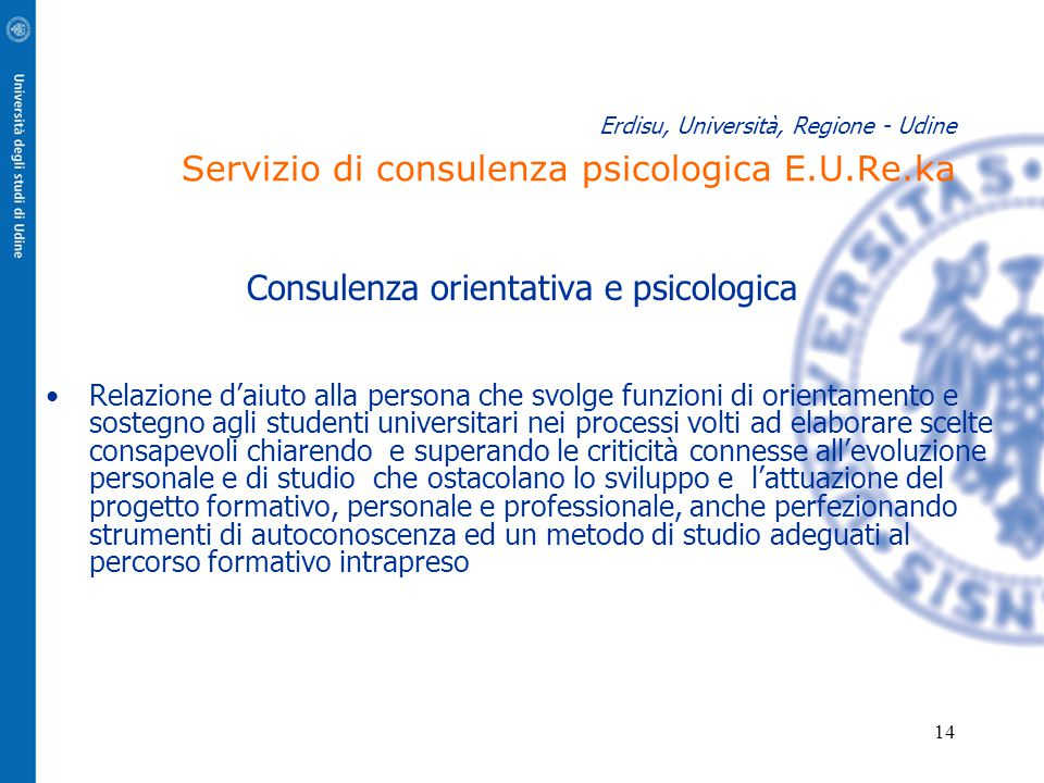 14 Erdisu, Università, Regione - Udine Servizio di consulenza psicologica E.U.Re.ka Consulenza orientativa e psicologica Relazione d'aiuto alla person