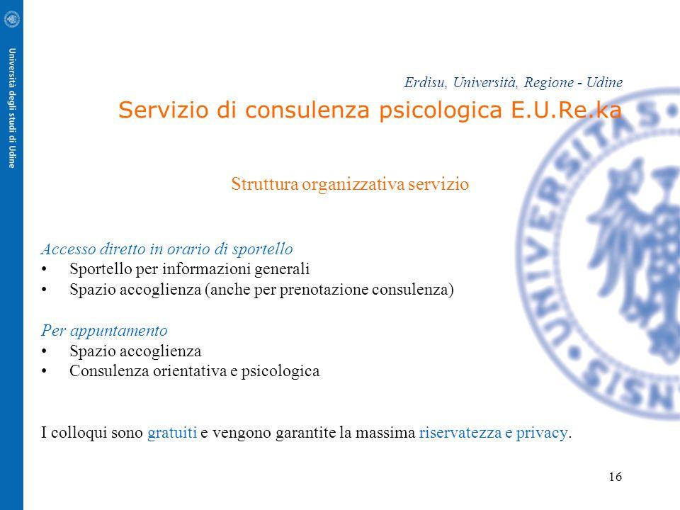 16 Erdisu, Università, Regione - Udine Servizio di consulenza psicologica E.U.Re.ka Struttura organizzativa servizio Accesso diretto in orario di spor