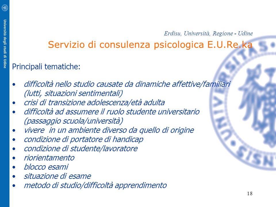 18 Erdisu, Università, Regione - Udine Servizio di consulenza psicologica E.U.Re.ka Principali tematiche: difficoltà nello studio causate da dinamiche