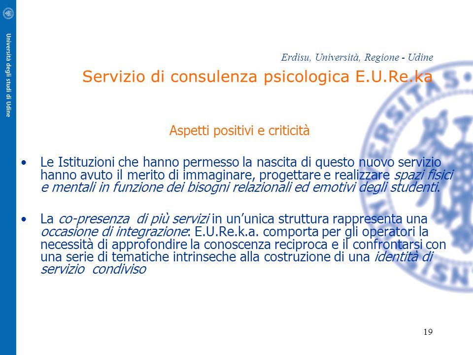 19 Erdisu, Università, Regione - Udine Servizio di consulenza psicologica E.U.Re.ka Aspetti positivi e criticità Le Istituzioni che hanno permesso la