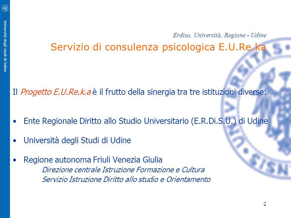 2 Erdisu, Università, Regione - Udine Servizio di consulenza psicologica E.U.Re.ka Il Progetto E.U.Re.k.a è il frutto della sinergia tra tre istituzio