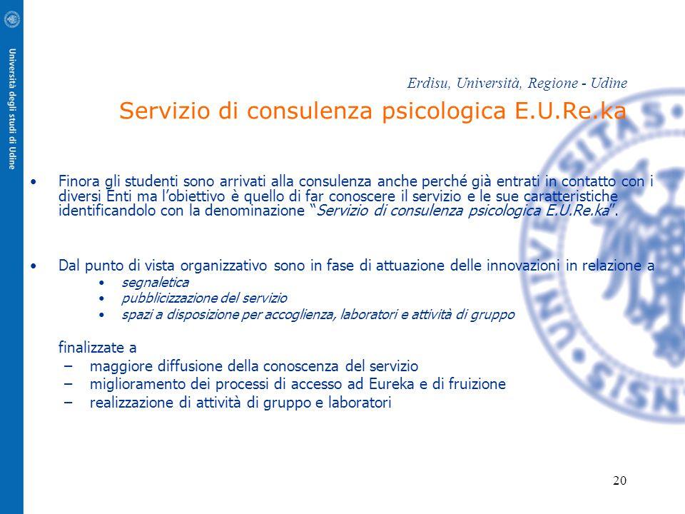 20 Erdisu, Università, Regione - Udine Servizio di consulenza psicologica E.U.Re.ka Finora gli studenti sono arrivati alla consulenza anche perché già
