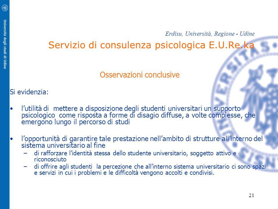 21 Erdisu, Università, Regione - Udine Servizio di consulenza psicologica E.U.Re.ka Osservazioni conclusive Si evidenzia: l'utilità di mettere a dispo