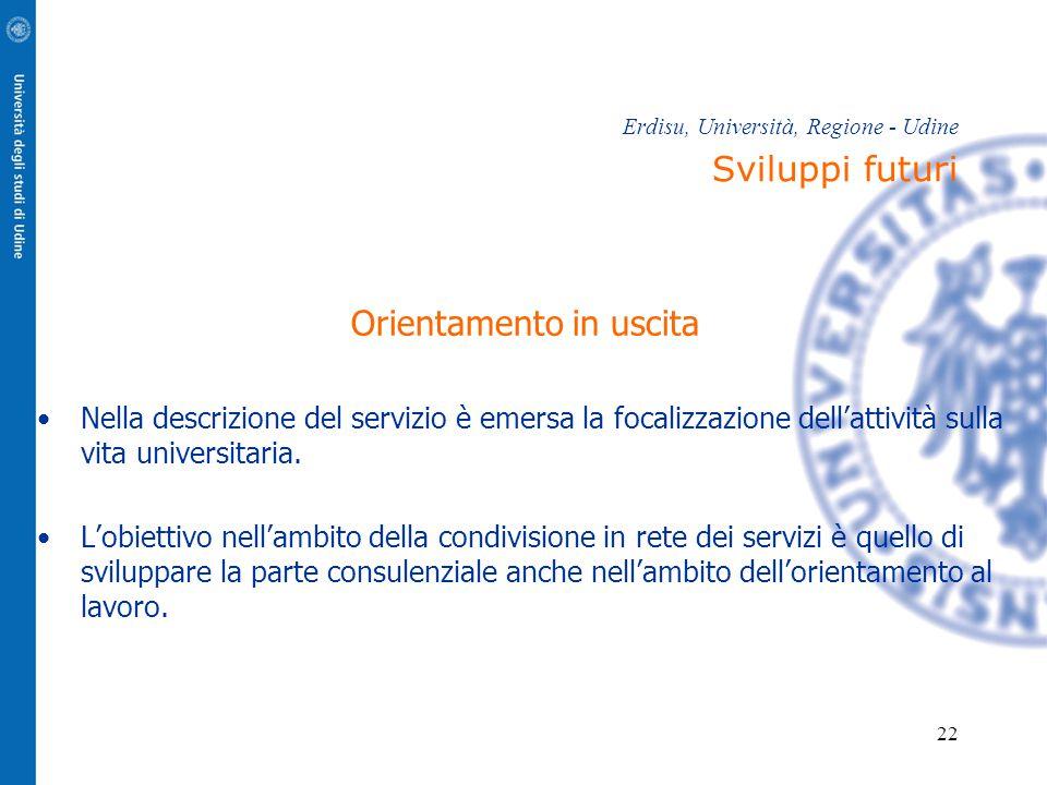 22 Erdisu, Università, Regione - Udine Sviluppi futuri Orientamento in uscita Nella descrizione del servizio è emersa la focalizzazione dell'attività