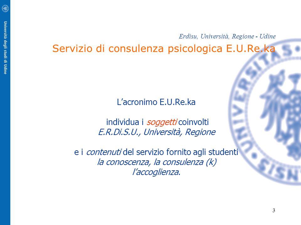 3 Erdisu, Università, Regione - Udine Servizio di consulenza psicologica E.U.Re.ka L'acronimo E.U.Re.ka individua i soggetti coinvolti E.R.Di.S.U., Università, Regione e i contenuti del servizio fornito agli studenti la conoscenza, la consulenza (k) l'accoglienza.