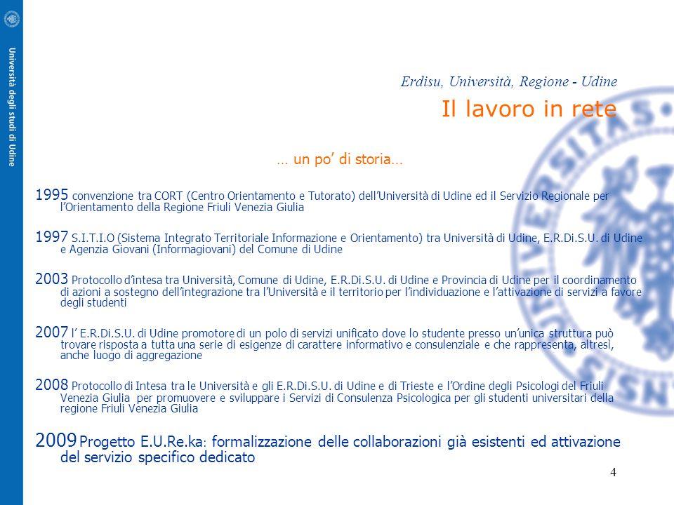 4 Erdisu, Università, Regione - Udine Il lavoro in rete … un po' di storia… 1995 convenzione tra CORT (Centro Orientamento e Tutorato) dell'Università