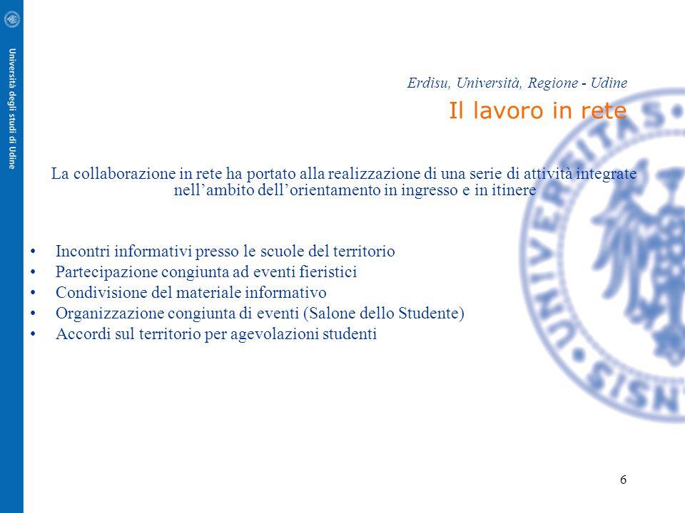 6 Erdisu, Università, Regione - Udine Il lavoro in rete La collaborazione in rete ha portato alla realizzazione di una serie di attività integrate nel