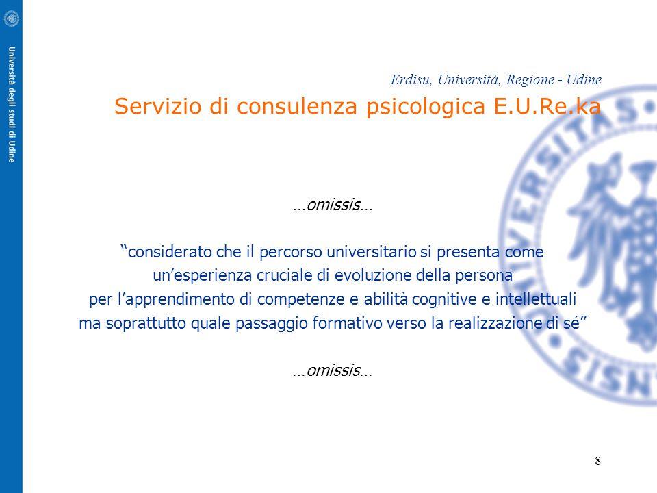 """8 Erdisu, Università, Regione - Udine Servizio di consulenza psicologica E.U.Re.ka …omissis… """"considerato che il percorso universitario si presenta co"""
