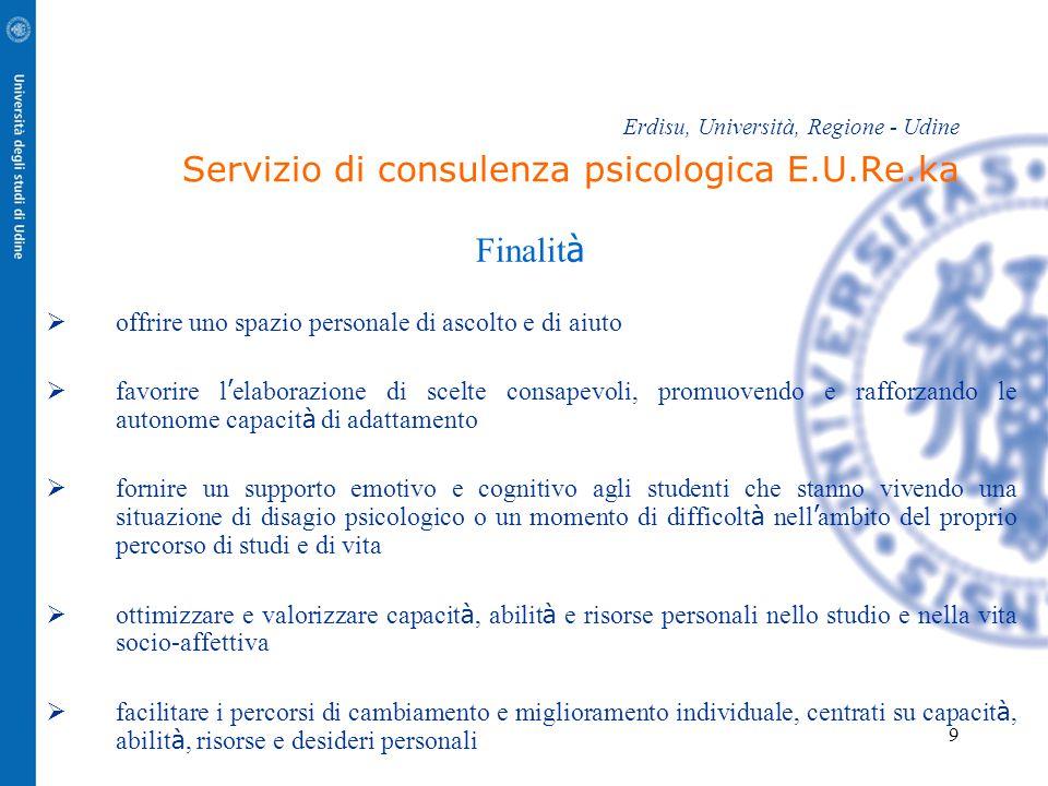9 Erdisu, Università, Regione - Udine Servizio di consulenza psicologica E.U.Re.ka Finalit à  offrire uno spazio personale di ascolto e di aiuto  fa