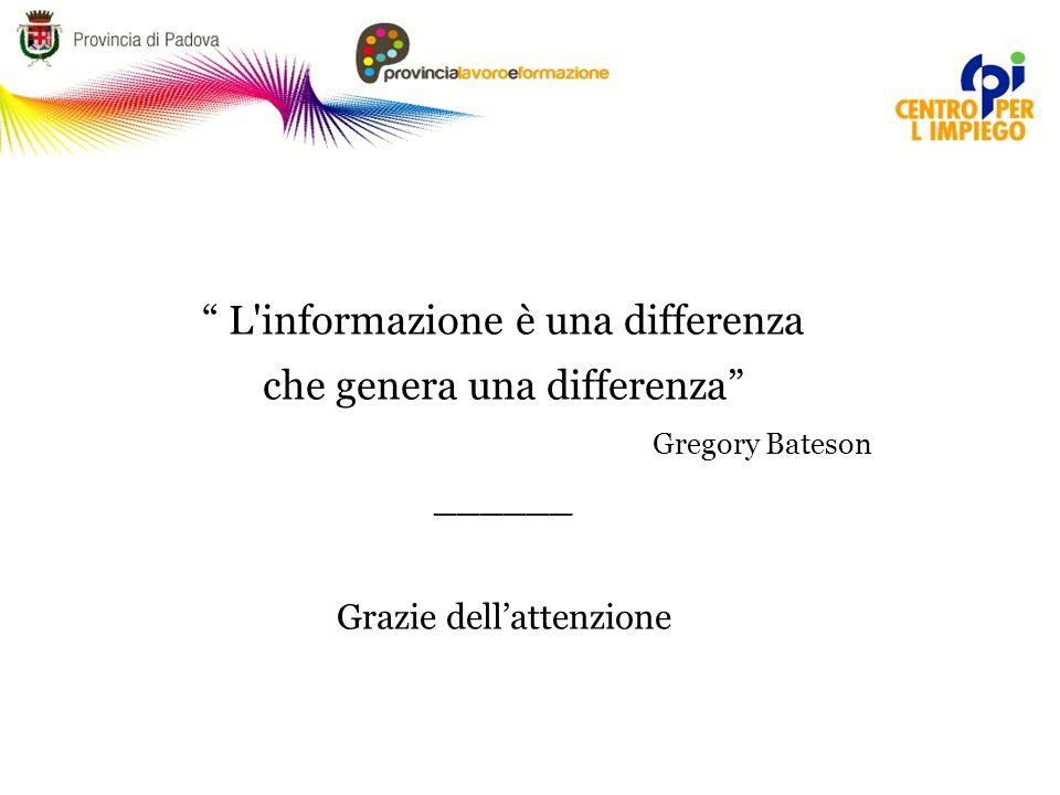 """"""" L'informazione è una differenza che genera una differenza"""" Gregory Bateson ______ Grazie dell'attenzione"""