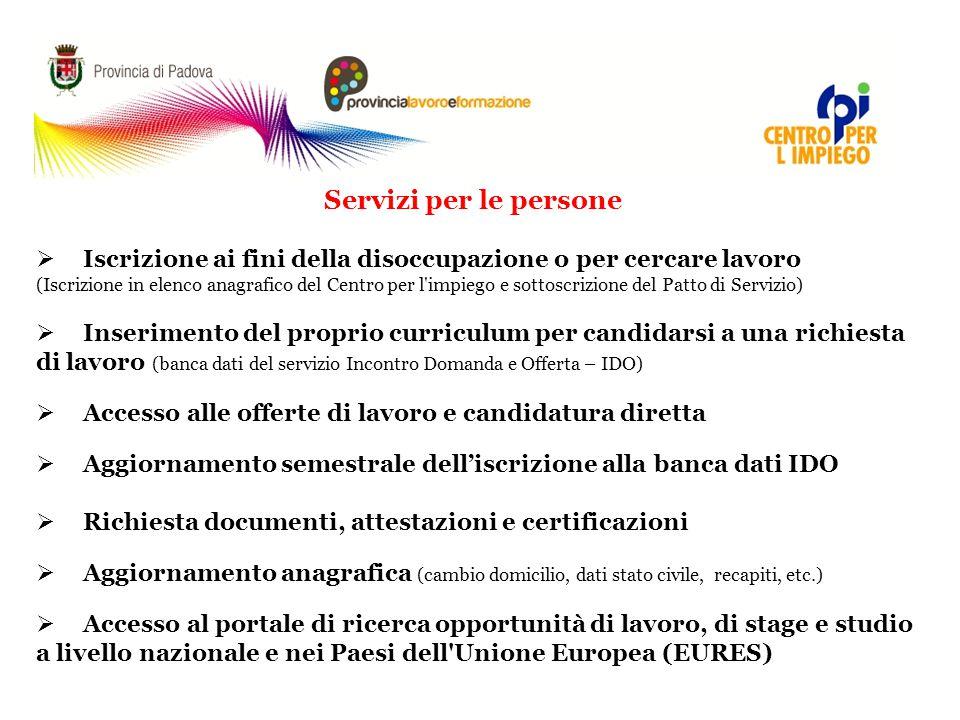 Servizi per le persone  Iscrizione ai fini della disoccupazione o per cercare lavoro (Iscrizione in elenco anagrafico del Centro per l'impiego e sott