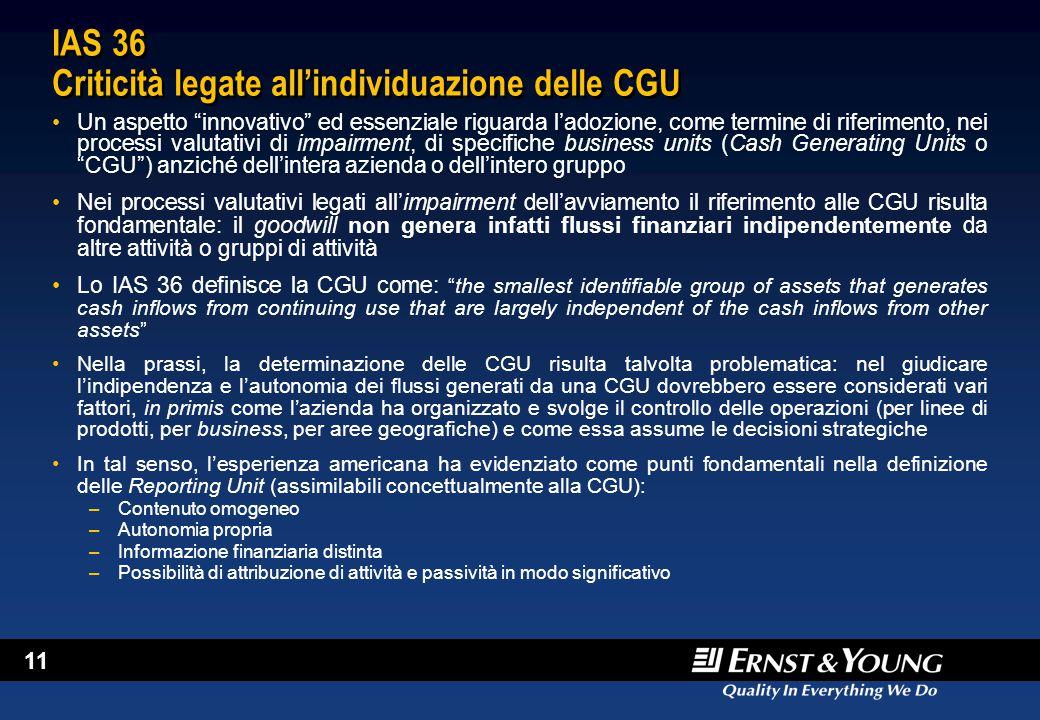 """11 IAS 36 Criticità legate all'individuazione delle CGU Un aspetto """"innovativo"""" ed essenziale riguarda l'adozione, come termine di riferimento, nei pr"""