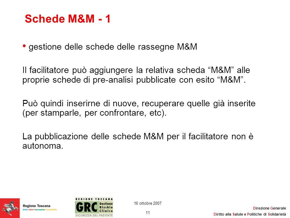 Direzione Generale Diritto alla Salute e Politiche di Solidarietà 11 16 ottobre 2007 Schede M&M - 1 gestione delle schede delle rassegne M&M Il facili